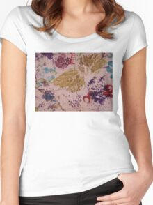 Autumn Leaves Hand Print Women's Fitted Scoop T-Shirt