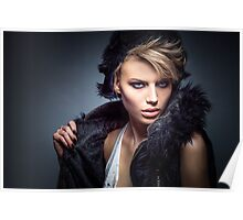 Erotic and nude art hot woman portrait Poster