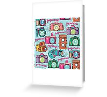 Paparazzi Camera Pattern Greeting Card