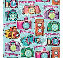 Paparazzi Camera Pattern Photographic Print