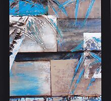Palm Squares in Blue by Jeni Maxwell
