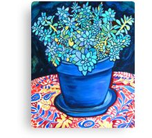 Blue Succulent Canvas Print