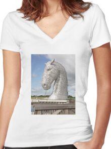 The Kelpies sculptures , Helix Park, Scotland Women's Fitted V-Neck T-Shirt