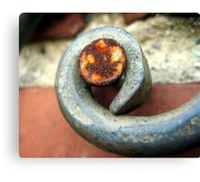 Rusty nail on wrought iron Canvas Print