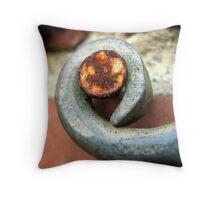 Rusty nail on wrought iron Throw Pillow