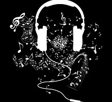 Headphones and music notes white by DCornel