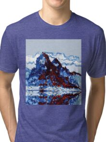 Chinese mountain lake and boat Tri-blend T-Shirt