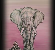 Drawing of Girl with Elephant Pink Background by ArtistryByLM