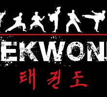 Taekwondo Text and Fighters White by DCornel