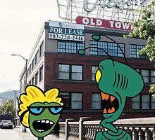 ZEEK from Mars & Nurdy from Venus visit Old Town Portland by CattapanComics