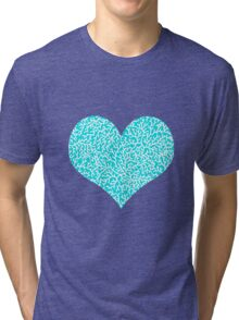 Coral, white on turquoise Tri-blend T-Shirt