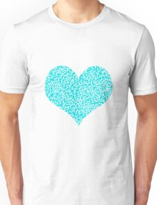 Coral, white on turquoise Unisex T-Shirt