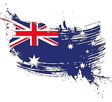 Australia Flag Brush Splatter by DCornel