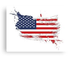 United States of America Flag Brush Splatter Canvas Print