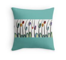 Abstract art tulips Throw Pillow