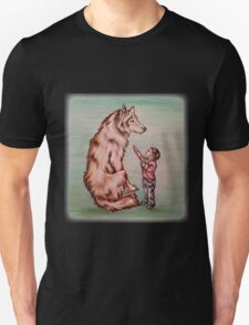 Cartoon Child with Wolf Drawing  T-Shirt