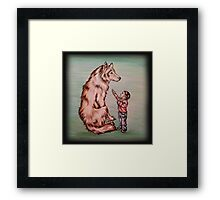 Cartoon Child with Wolf Drawing  Framed Print