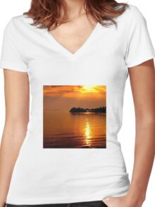 beautiful natural summer sunset Women's Fitted V-Neck T-Shirt
