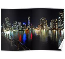 Brisbane City At Night,. Queensland, Australia. Poster