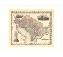 Georgetown and the city of Washington D.C. (1855) Art Print