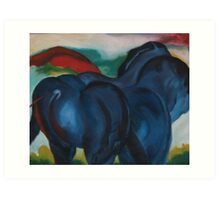 three blue horses Art Print