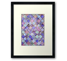 Royal Purple, Mauve & Indigo Decorative Moroccan Tile Pattern Framed Print