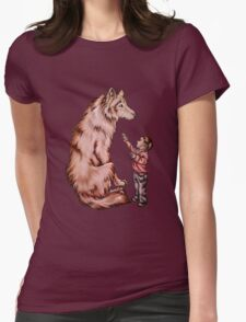 Cartoon Child with Wolf Drawing  Womens Fitted T-Shirt