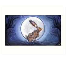 Hare under the moon Art Print