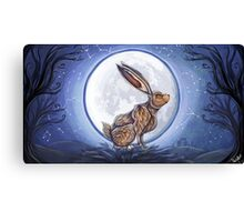Hare under the moon Canvas Print
