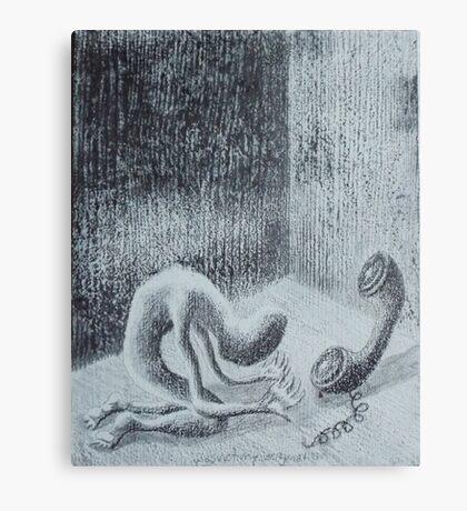 silenced reality. graphite, oil on wood. 8''x10''. adam sturch Canvas Print