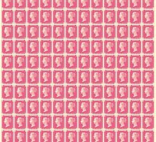 Block of Penny Black stamps in pink by jripleyfagence