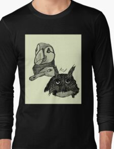 Puffin, Swan and Owl Sketch Long Sleeve T-Shirt