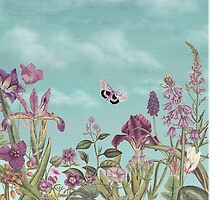 Mauve flowers on turquoise sky background by Eva Nev