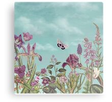 Mauve flowers on turquoise sky background Metal Print