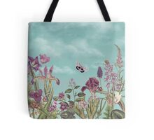 Mauve flowers on turquoise sky background Tote Bag