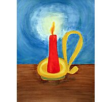 Red candle lighting up the dark blue night. Photographic Print