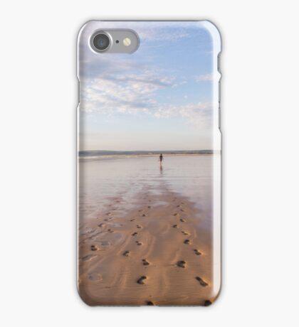 Footprints in the sand at Westward Ho! beach in North Devon, UK iPhone Case/Skin