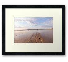 Footprints in the sand at Westward Ho! beach in North Devon, UK Framed Print