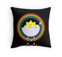 illustration on a sun bathe in the clouds and a rainbow appeared also Throw Pillow