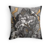 She Was A Haunted House Throw Pillow