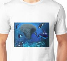 Orca, killer whale playing with bait ball of fish Unisex T-Shirt