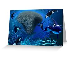 Orca, killer whale playing with bait ball of fish Greeting Card