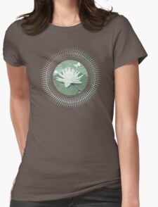 Lotus and Butterflies on Turquoise Water Womens Fitted T-Shirt