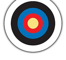Bulls Eye, Archery, Right on Target, Roundel, on WHITE by TOM HILL - Designer