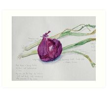 Red Onion and Spring Onions Art Print