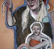 Self portrait with child by Katie Young