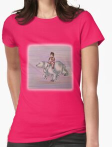 Cartoon Girl Child Riding Polar Bear Drawing  Womens Fitted T-Shirt