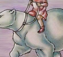 Cartoon Girl Child Riding Polar Bear Drawing  Sticker