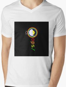 funny illustration on a sun bathe in the clouds and a rainbow appeared also Mens V-Neck T-Shirt