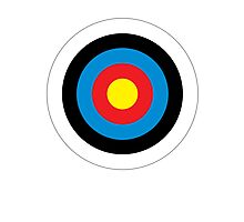Bulls Eye, Archery, Right on Target, Roundel, Shooting, on White Photographic Print
